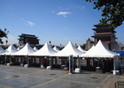 Double PVC Fabric Glass Wall Pagoda Party Tent Aluminum Structure Material